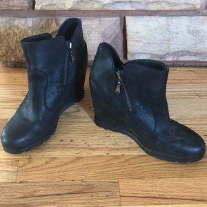 Black wedge UGG booties